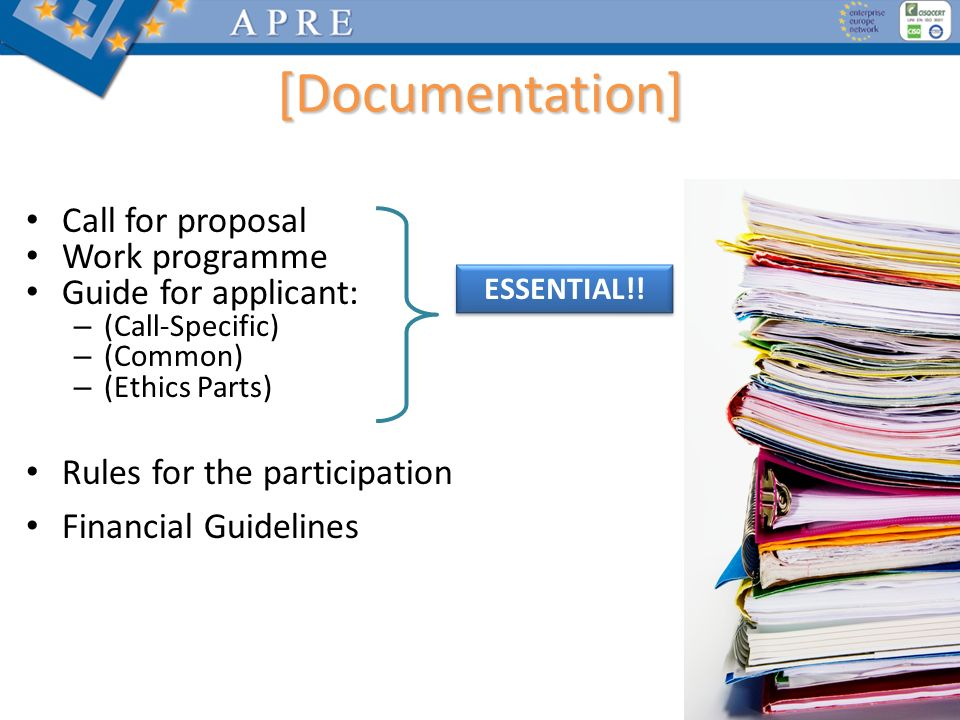 [Documentation] Call for proposal Work programme Guide for applicant: